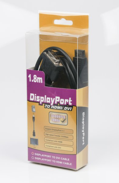 Viewcon DisplayPort – DVI 1.8 м: подключит DisplayPort к DVI